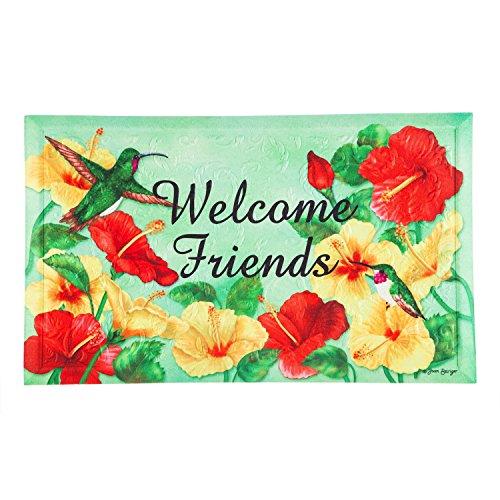 Mat Floor Hummingbird - Evergreen Garden 41EM2274 Hummingbird Welcome Floor Embossed Door Mat, Multicolor