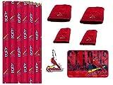 MLB St. Louis Cardinals 18 Piece Bath Ensemble Includes (1) Shower Curtain, (12) Shower Hooks, (2) Bath Towels, (2) Hand Towels, and (1) Bath mat