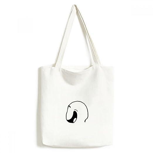 Shameless Smile negro Emoji patrón bolsa de lona medio bolsa ...