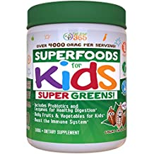 Doctor Formulated: Superfood Greens For Kids (60 Servings) CoCoa Chocolate, Organic Ingredients , Vitamins, Gluten Free, Vegan, Whole Food Powder – Fruits & Veggies, Probiotics, Digestive Enzymes