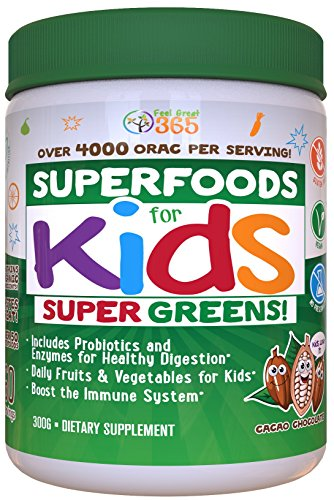 Doctor Formulated Superfood Greens for Kids (60 Servings) Cocoa Chocolate, Organic Ingredients, Vitamins, Gluten Free, Vegan, Whole Food Powder – Fruits & Veggies, Probiotics, Digestive Enzymes