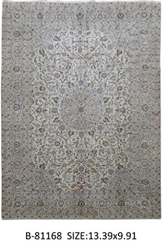 Kashan Organic Wool Cream Hand-Knotted Rug Signed 10' x 13' Persian