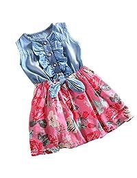 Csbks Little Girls Dress Denim Floral Swing Skirt Bow Casual Dresses