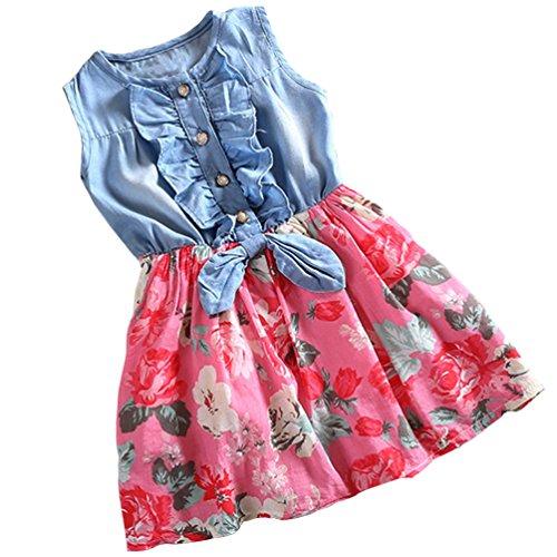 Csbks Girls Summer Sleeveless Floral Denim Dress Toddler Bow Casual Sundress 6-7 Years -