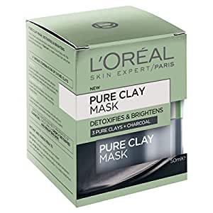 L'OREAL PARIS L'Oréal Paris Pure Clay Detoxifying Charcoal Mask, 50 Gram