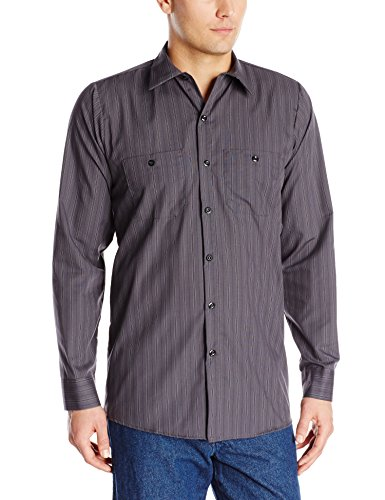 (Red Kap Men's Industrial Stripe Work Shirt, Charcoal with Blue/White Stripe,  Long Sleeve Medium )