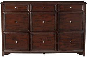 """Home Decorators Collection Oxford 3 Plus 6 File Chest, 35.5"""" Hx56 W, Chestnut"""