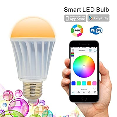 Flux WiFi Smart LED Light Bulb - Smartphone Controlled Dimmable Multicolored Color Changing Lights - Works with iPhone, iPad, Apple Watch, Android Phone and Tablet
