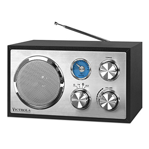 Victrola Wooden Desktop FM Radio with Bluetooth, Black