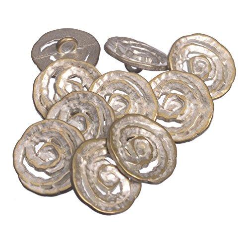 Pinback Vintage Button - Zinc Diecasted Metal Shank Button - Spiral Coil Pattern - 30 Line - Silver Brass