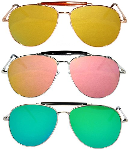 3 Pack Aviator Brow Bar Sunglasses UV Protection Color Lens Metal Frame Unisex (Flat-063-C2-C8-C12, Colored) ()