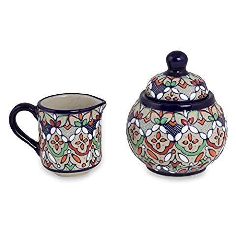 NOVICA Multicolor Floral Ceramic Sugar Bowl and Creamer, 8 oz, 'Guanajuato Festivals' - Blue Flowers Creamer