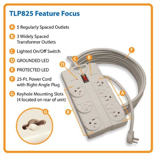 Tripp Lite 8 Outlet Surge Protector Power Strip 25ft Cord Right Angle Plug 1440 Joules (TLP825)