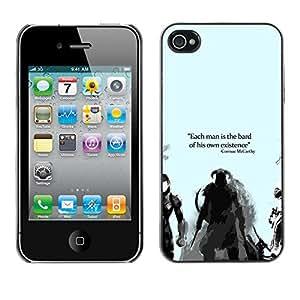 GIFT CHOICE / SmartPhone Carcasa Teléfono móvil Funda de protección Duro Caso Case para iPhone 4 / 4S /Bard Or Existence - Cormac Mccarthy - Dragonborn/