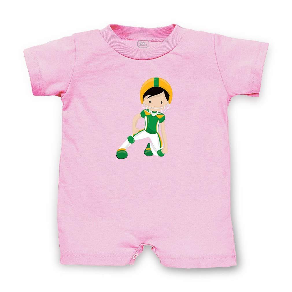 Green Yellow Boy Helmet Football Black Blk Boys-Girls Cotton Infant Romper
