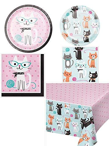Olive Occasions Purr-fect Cat Themed Disposable Party Supplies 16 Dinner Plates, 16 Dessert Plates, 16 Lunch Napkins, 16 Beverage Napkins, Table Cover and Grandma Olive's Recipe]()