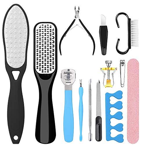Hapythda Professional Pedicure Tools Kit Foot Scrubber Scraper for Dead Skin, Foot File Rasp Callus Remover for Feet, Foot Care Nail Clippers File Set for Men Women,13 PCS