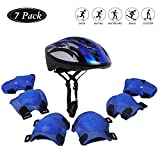 Kids Bicycle Helmet Knee-Pad Elbow Wrist Protection Gear for Bicycle and Skateboard (Blue) for Kids 6~12 Years Old Birthday Present
