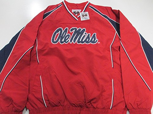 Ole Miss Rebels Mens XX-Large V-Neck Pullover Embroidered Microfiber Windbreaker Jacket AUMS 4 XXL