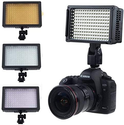 Soft Diffuser Runshuangyu 160 LED CN-160 Dimmable Ultra High Power Panel Hot Shoe Video Camcorder Lamp Light Photo Studio Lighting 3200k Filter fits to Canon Nikon Sony Panasonic Olympus Camera