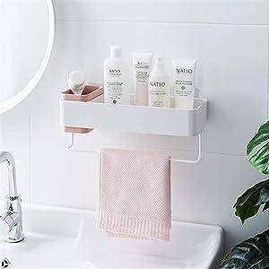 Bathroom Organizers Adhesive Shelf Storage with Towel Bar, Wall Mounted Floating Shelves Corner Suction, Shampoo Shower Caddy Rack, Pink