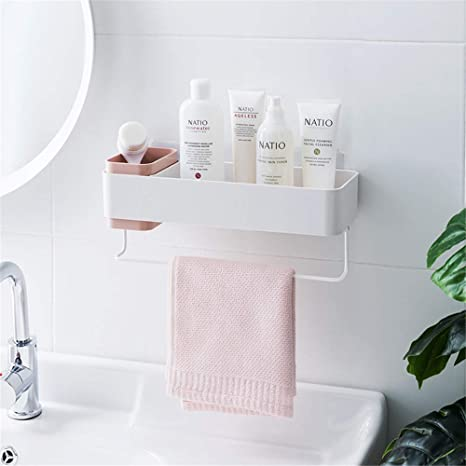 Towel Rail Rack Holder Self Adhesive Wall Mounted Bathroom Storage Shelf Hanger