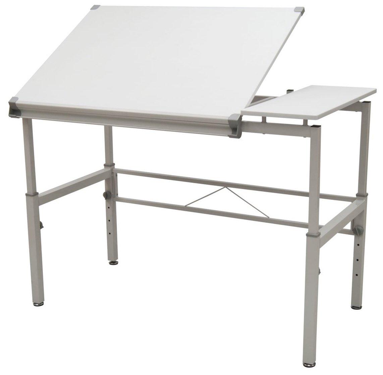 STUDIO DESIGNS Graphix II Workstation, 53.75''W x 31.25''D x 27'' - 38.75''H White/Gray 10210