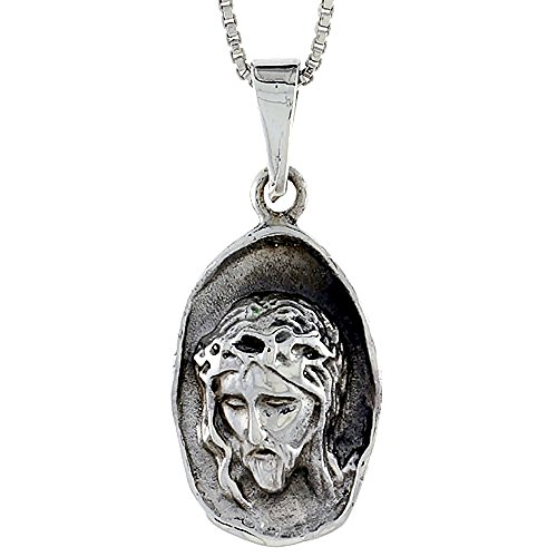 Sterling Silver Jesus Head Pendant, 1 3/8 inch tall (Head Jewelry Sterling Silver)