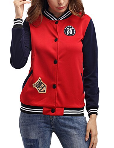 EDTara Chaqueta para mujer de cuello alto de manga larga traje de béisbol delgado abrigo de patchwork de color