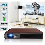 Mini Pocket LED Projector Wifi 3D with Built-in Battery Wireless Portable HD DLP Projector HDMI USB Audio Auto Keystone…