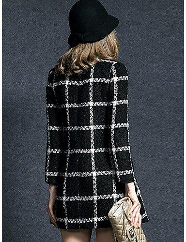PU&PU Robe Aux femmes Gaine Simple / Street Chic,Damier Col Arrondi Au dessus du genou Polyester , black-xl , black-xl