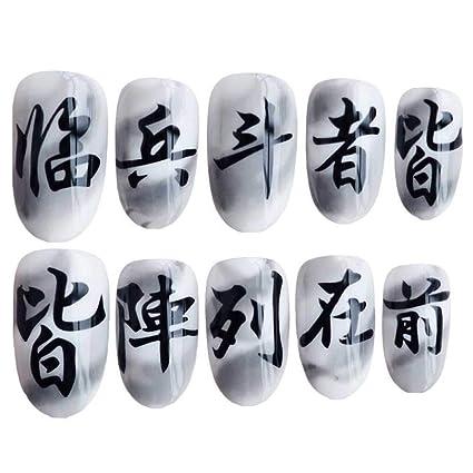 Carácter chino gris/blanco uñas falsas uñas artificiales decoración uñas consejos