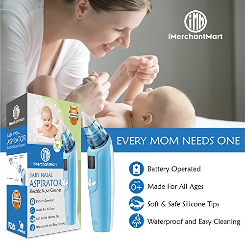 iMerchantMart Baby Nasal Aspirator with Built-In Light, Soothing Music, LCD Screen, and 3 Levels of Suction Power | Snot Sucker Infant Nasal Aspirator