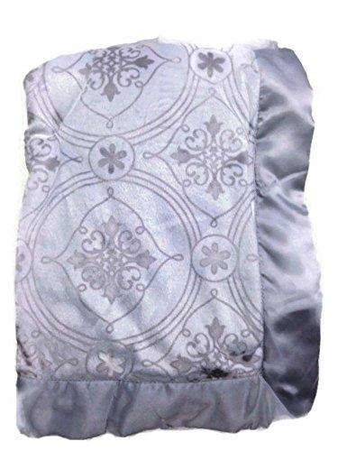 Wendy Bellissimo Baby Boys' Royal Grey Scroll Minky Velour Satin (Satin Scroll)