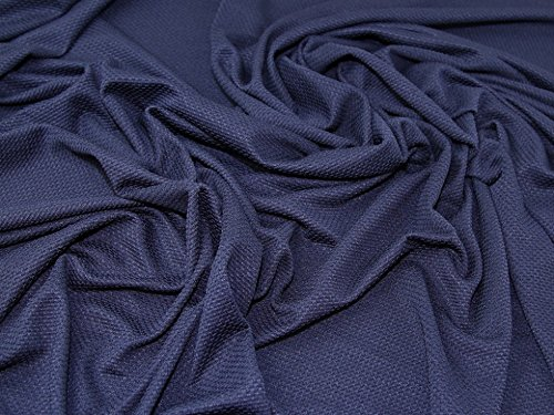 Minerva Crafts Textured Surface Double Jersey Stretch Knit Dress Fabric Navy Blue - per (Textured Stretch Knit)