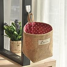 ICEBLUE Jute Wall Door hanging Storage Bag Case Basket Home Organizer Bin Decor (Red Dots)