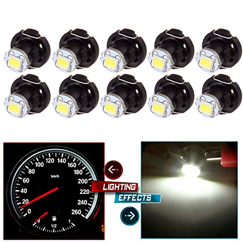 cciyu 10 Pack Yellow T4/T4.2 Neo Wedge 2835 SMD HVAC Climate Control LED Light Bulbs (white) ()