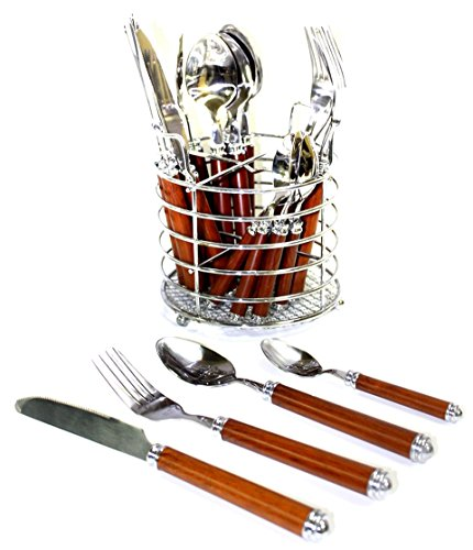 - Nature Home Decor RE6129 Rainbow Elite Collection Flatware Set of 24-Piece Service of Six with Elegant Dark Wood Finish Resin Handles and Stainless Steel Storage Caddy