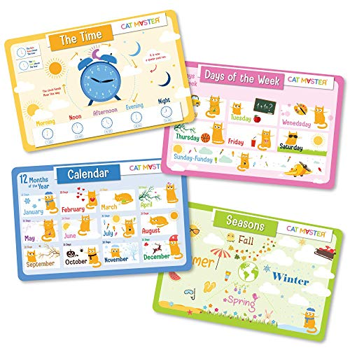 Cat Master - Educational Kids Placemats - Set of 4, Learn Months, Days, Seasons and How to Read The Clock - Fun Learning Time