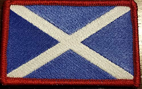 (Scotland Flag Embroidered Patch with Hook & Loop MC Biker Tactical Morale Shoulder Travel Emblem The Saltire or The Saint Andrew's Cross Version Red Border)