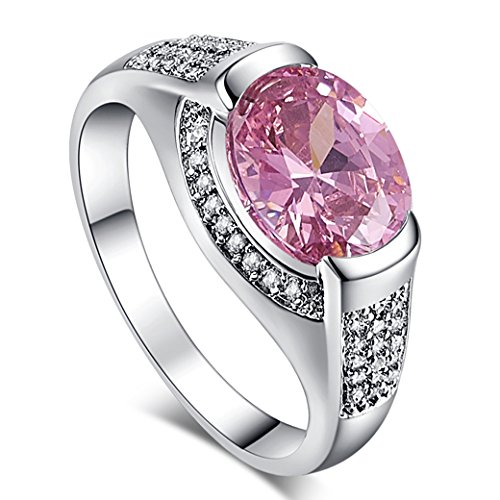 Veunora 925 Sterling Silver Created Pink and White Topaz Filled Gorgeous Ring for Women Size 7