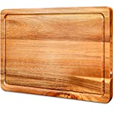 Cutting Board, Wood Chopping Boards for Kitchen with Deep Juice Groove Organic Acacia, Butcher Block for Meat and Vegetable, Wooden Serving Board with Grip Handles BPA Free - Medium,Gift Box Included