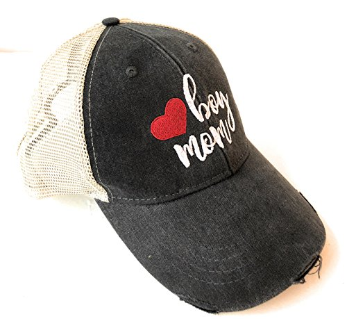 Mary's Monograms Boy Mom Embroidered Black Distressed Trucker Hat