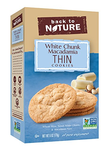Back to Nature Non-GMO Cookies, White Chunk Macadamia Thins, 6 Ounce
