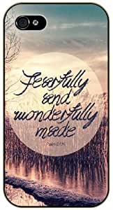 Feartfully and wonderfully made - Psalm 139:14 - Bible verse iPhone 4 / 4s black plastic case / Christian Verses