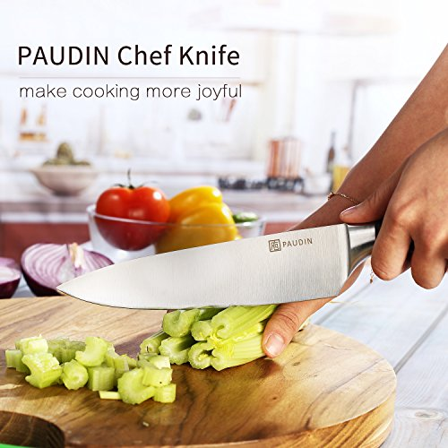 PAUDIN Kitchen Knife, 8 inch Chef Knife N2 German Stainless Steel knife with Sharp Edge and Ergonomic Wood Handle, 5Cr15Mov kitchen knife for Pro & Home Chefs by PAUDIN (Image #1)