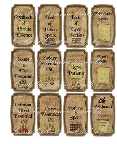 Halloween witchcraft spells potion 12 laminated glossy labels
