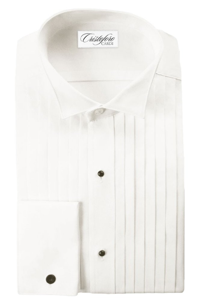 Ivory Cotton Wing Collar with 1/2 Inch Pleats Tuxedo Shirt (18-18.5 x 34/35)