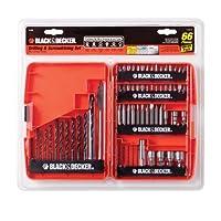 BLACK + DECKER 71-966 Juego de taladrado y atornillado, juego de brocas de 66 piezas