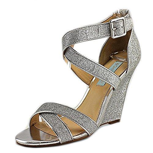 Blue by Betsey Johnson Women's Sb-Cherl Wedge Sandal, Silver Glitter, 7 M US